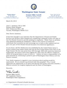 Carrell letter to WSH