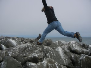 Rock-hopping in Ocean Shores